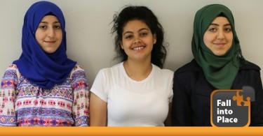 Three teenage girls smiling